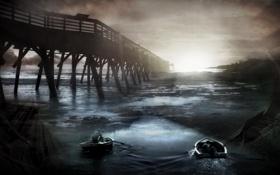 Обои мост, река, лодки, мрачно