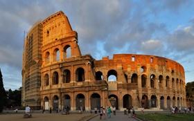 Обои небо, облака, люди, Рим, Колизей, Италия, архитектура