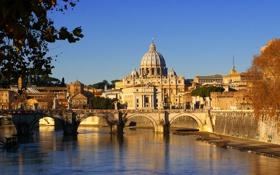 Обои небо, мост, река, собор, скульптура, купол, италия