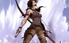 Обои лук, Lara Croft, лара крофт, ледоруб, майка, снег, оружие