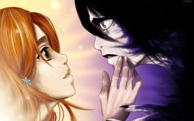 Обои взгляд, девушка, свет, улыбка, страх, тьма, парень