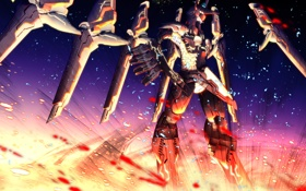 Картинка свет, взрыв, робот, крылья, аниме, арт, меха