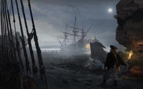 Обои ночь, огонь, луна, корабль, факел, пираты, кораблекрушение