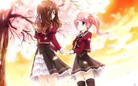 Картинка Komine Manami, Game CG, Mahara Aoi, Sakura Mau Otome no Rondo, Девушки