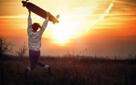 Картинка девушка, закат, прыжок, скейт