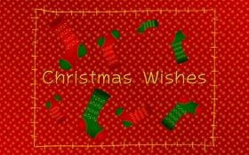 Обои снег, снежинки, праздник, новый год, носки, christmas, красный фон