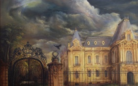 Обои ворота, арт, дом, картина