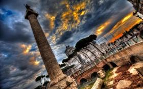 Обои небо, тучи, Рим, Италия, колонна, площадь Венеции, Витториано