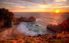 Обои море, волны, небо, вода, горы, природа, скала