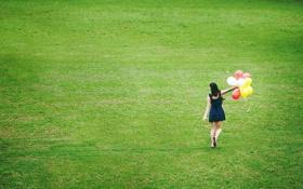 Картинка поле, девушка, настроение, шары