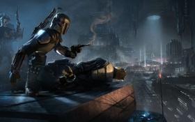 Обои город, оружие, рисунок, робот, дома, шлем, броня