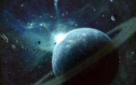 Обои звезды, свет, планета, кольца, астероиды, de light