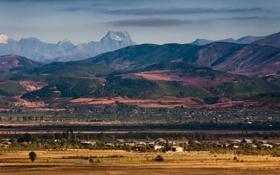 Обои поле, пейзаж, природа, обои, гора, деревня, wallpapers