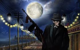 Картинка море, ночь, город, оружие, луна, шляпа, причал