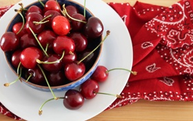Обои тарелка, черешня, красная, вишня, салфетка, ягоды