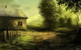 Обои дом, забор, заброшенный