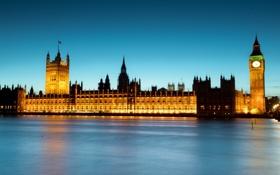 Картинка ночь, англия, лондон, london, night, england, Thames River