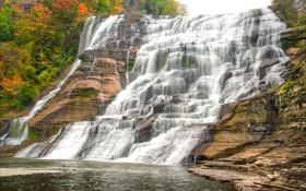 Картинка осень, деревья, озеро, скалы, водопад, поток