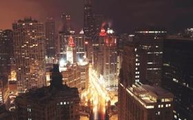 Обои Вечер, Огни, Ночь, Чикаго, Небоскребы, Здания, Высота