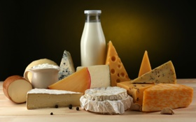 Обои сыр, молоко, перец, чеснок