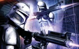 Обои star wars, gun, white, helmet, Stormtroopers