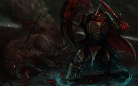 Картинка оружие, меч, воин, арт, монстры, мужчина