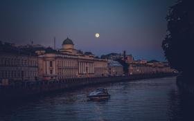 Обои река, луна, вечер, Russia, набережная, питер, санкт-петербург