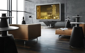Обои дизайн, комната, домашний кинотеатр, интерьер, стиль