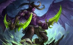 Обои оружие, магия, арт, рога, World of Warcraft, Illidan, Stormrage