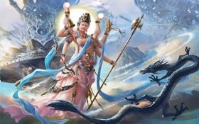 Картинка рисунок, лук, фэнтези, змей, колокольчик, божество, мифология