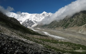Обои Небо, Природа, Облака, Фото, Горы, Снег, Камни