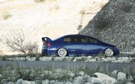 Картинка профиль, синий, civic, сивик, honda, хонда, blue