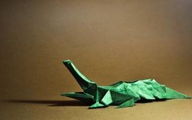Обои зеленый, green, тень, рот, коричневый, открытый рот, оригами