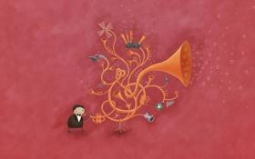 Обои музыка, пузырьки, владстудио, Труба