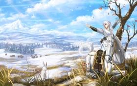 Обои животные, девушка, снег, улыбка, лошадь, арт, живопись