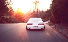 Картинка закат, солнце, дорога, белый, деревья, лексус, sc 400