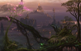 Обои цветок, город, огни, дерево, магия, существо, арт
