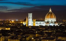 Картинка ночь, город, Италия, собор, Флоренция, архитектура, Italy