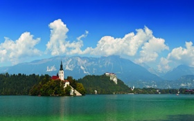 Обои город, горы, Словения, пейзаж, озеро