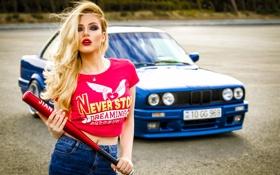 Картинка BMW, Girl, Car, Julia, Blue, Beauty, View