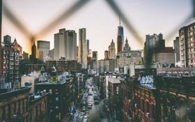 Обои люди, улица, Нью-Йорк, Манхэттен, автомобили, One World Trade Center, Соединенные Штаты