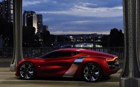 Картинка авто, машины, красный, мост, рено, concept car, город.