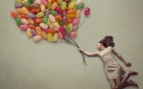 Картинка девушка, фон, шар, ситуация