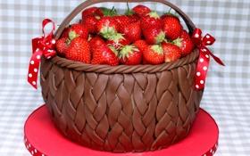 Обои красный, ягоды, еда, пища, клубника, корзинка, коричневый