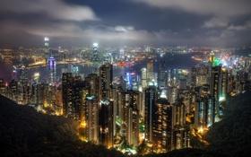 Картинка небо, ночь, Гонконг, Hong Kong