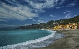 Обои горы, побережье, Италия, Italy, Лигурийское море, Лигурия, Liguria