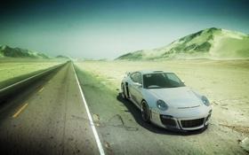 Картинка дорога, пустыня, стоит