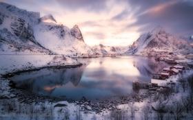 Картинка горы, озеро, домики