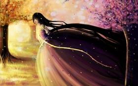 Картинка платье, осень, девушка, листья, волосы, лицо, живопись