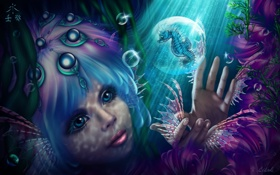 Картинка глаза, взгляд, вода, девушка, лицо, пузыри, волосы